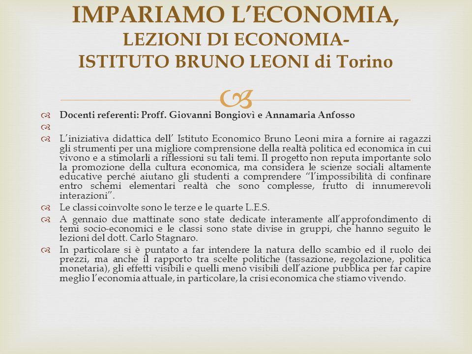 IMPARIAMO L'ECONOMIA, LEZIONI DI ECONOMIA- ISTITUTO BRUNO LEONI di Torino