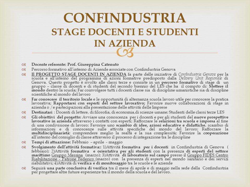 CONFINDUSTRIA STAGE DOCENTI E STUDENTI IN AZIENDA