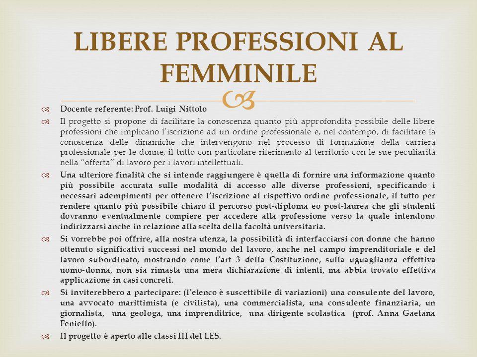 LIBERE PROFESSIONI AL FEMMINILE