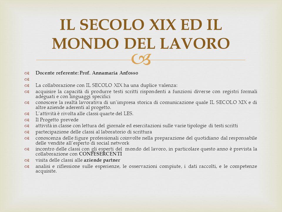 IL SECOLO XIX ED IL MONDO DEL LAVORO