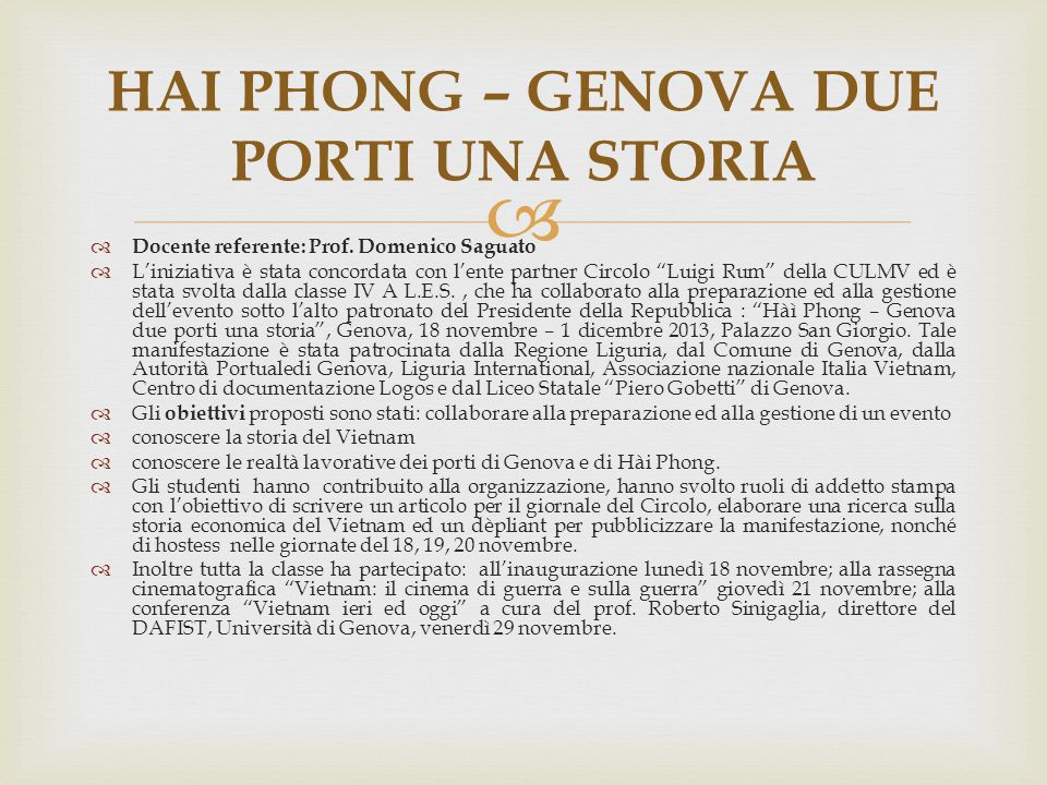HAI PHONG – GENOVA DUE PORTI UNA STORIA