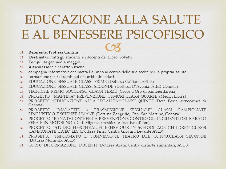 EDUCAZIONE ALLA SALUTE E AL BENESSERE PSICOFISICO