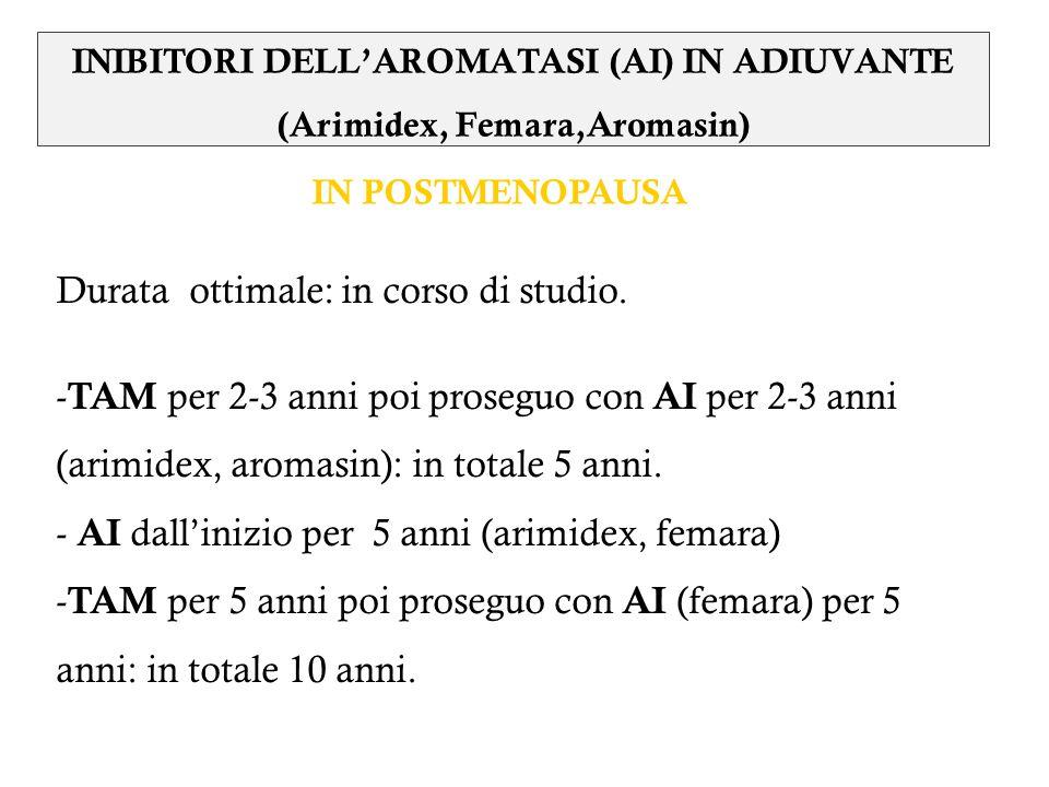 INIBITORI DELL'AROMATASI (AI) IN ADIUVANTE (Arimidex, Femara,Aromasin)