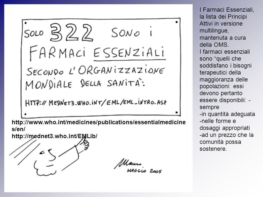I Farmaci Essenziali, la lista dei Principi Attivi in versione multilingue, mantenuta a cura della OMS.