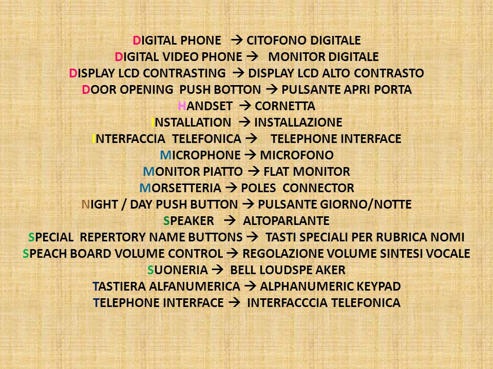 DIGITAL PHONE  CITOFONO DIGITALE