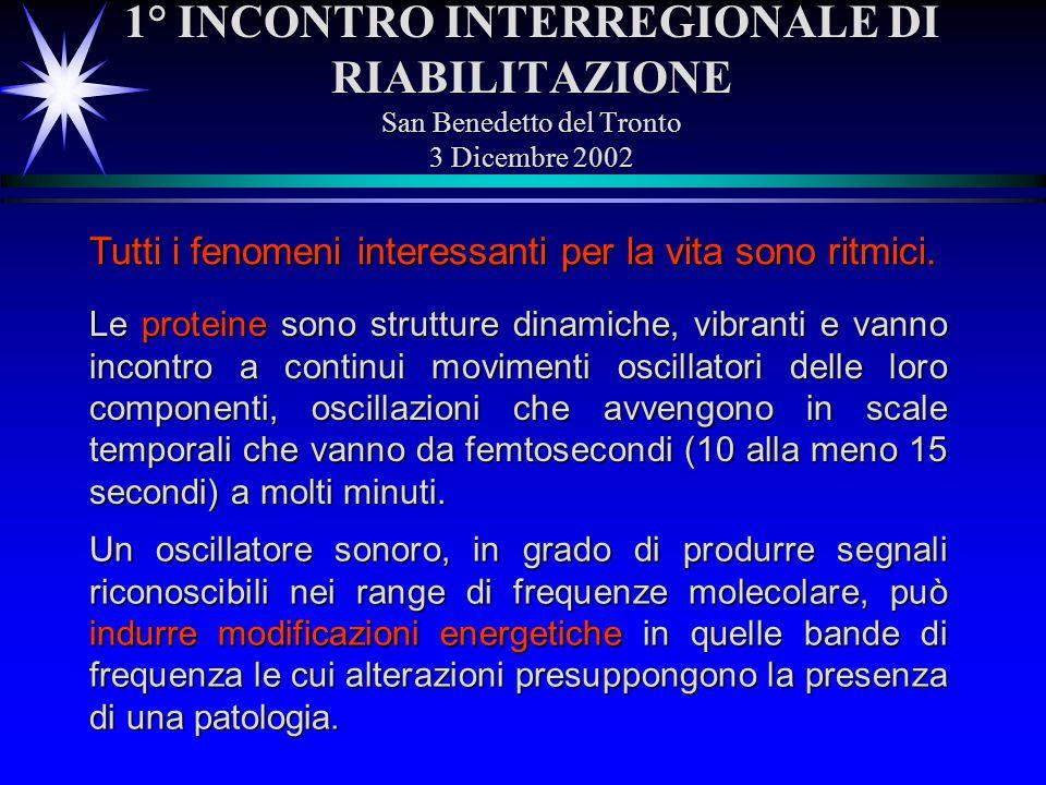 1° INCONTRO INTERREGIONALE DI RIABILITAZIONE San Benedetto del Tronto 3 Dicembre 2002