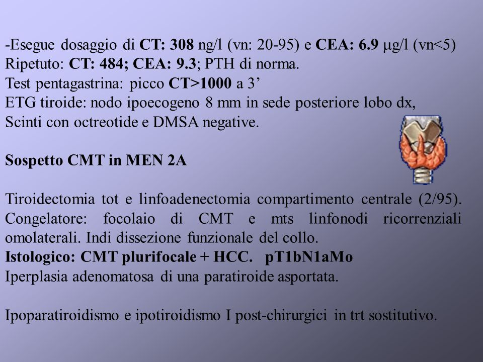 -Esegue dosaggio di CT: 308 ng/l (vn: 20-95) e CEA: 6.9 g/l (vn<5)