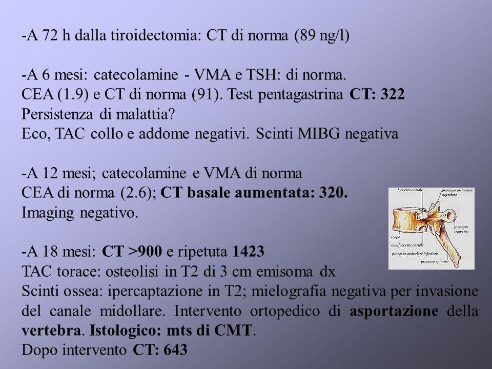 -A 72 h dalla tiroidectomia: CT di norma (89 ng/l)