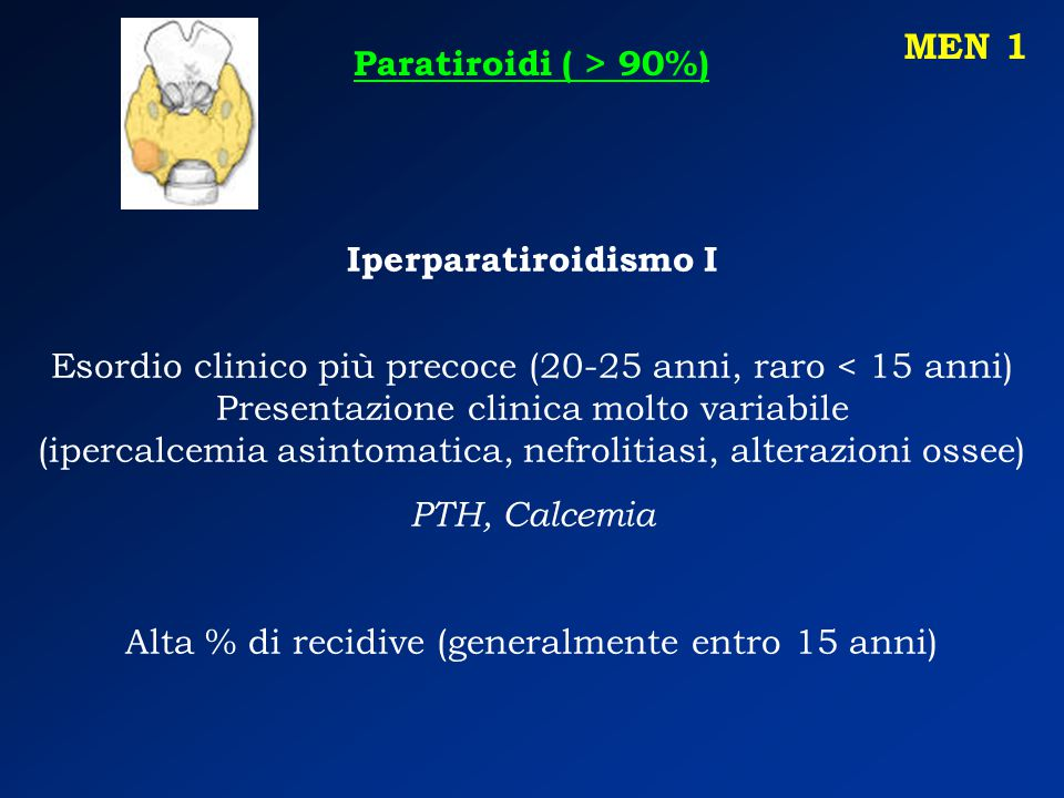 MEN 1 Paratiroidi ( > 90%) Iperparatiroidismo I