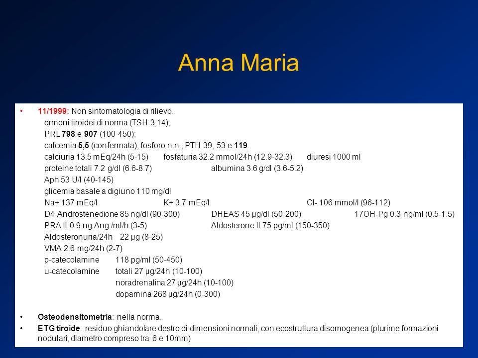 Anna Maria 11/1999: Non sintomatologia di rilievo.
