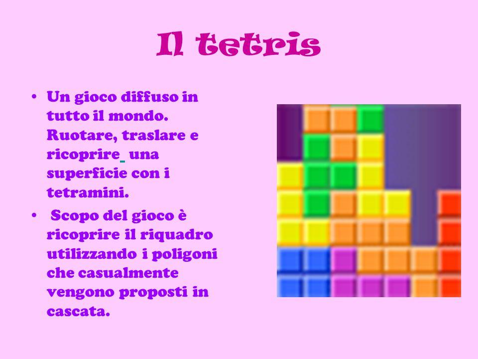 Il tetris Un gioco diffuso in tutto il mondo. Ruotare, traslare e ricoprire una superficie con i tetramini.