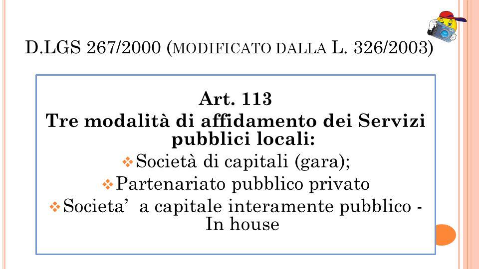 D.LGS 267/2000 (modificato dalla L. 326/2003)