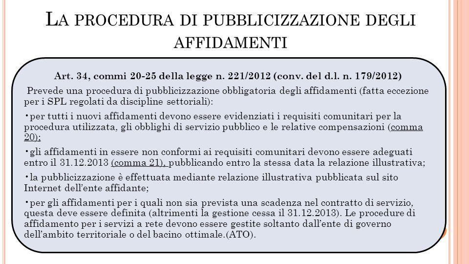La procedura di pubblicizzazione degli affidamenti
