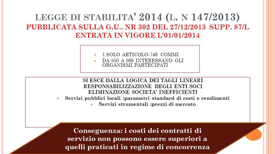 legge di stabilita' 2014 (l. n 147/2013) PUBBLICATA SULLA G. U