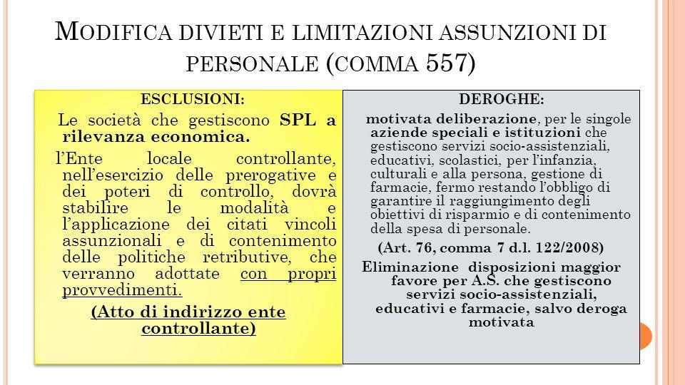 Modifica divieti e limitazioni assunzioni di personale (comma 557)