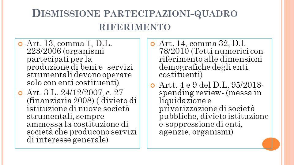 Dismissione partecipazioni-quadro riferimento
