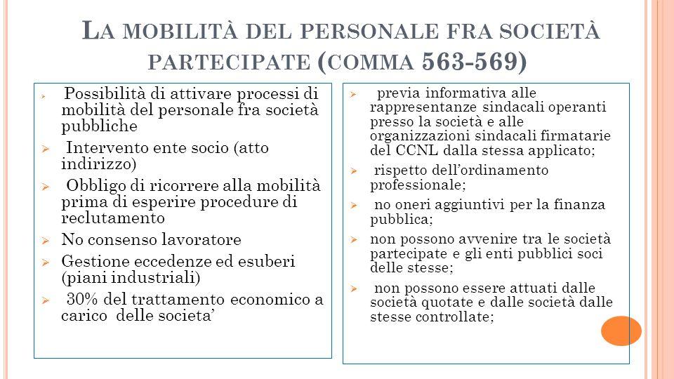 La mobilità del personale fra società partecipate (comma 563-569)