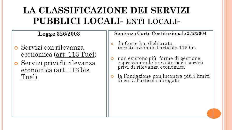 LA CLASSIFICAZIONE DEI SERVIZI PUBBLICI LOCALI- enti locali-