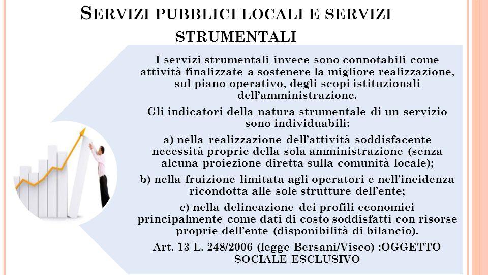 Servizi pubblici locali e servizi strumentali