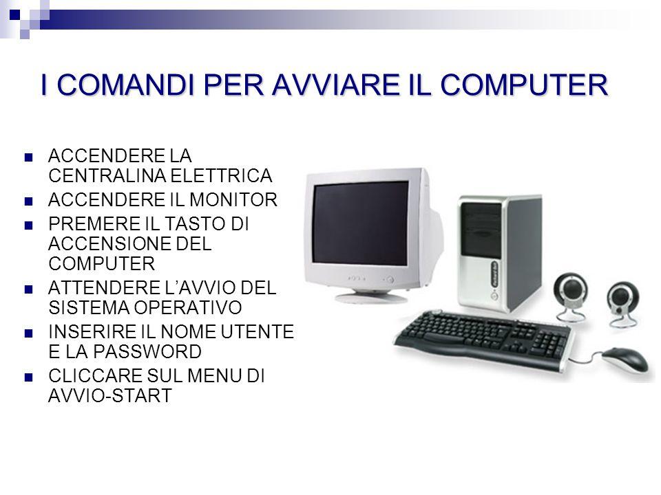 I COMANDI PER AVVIARE IL COMPUTER