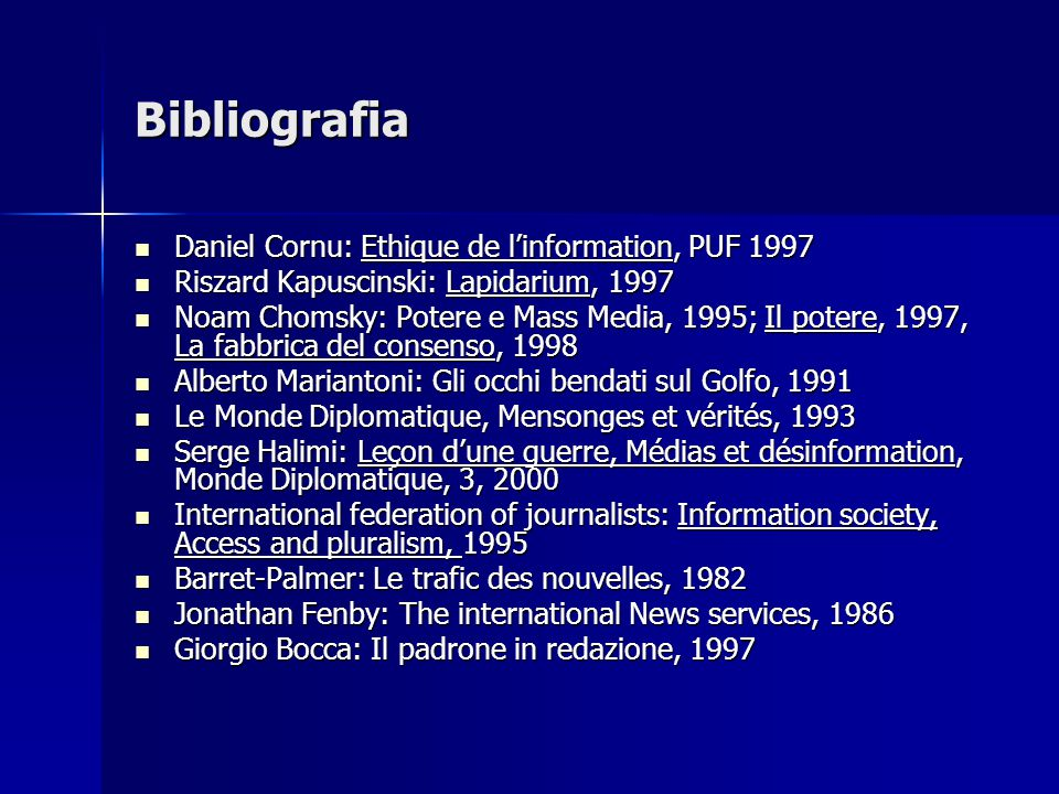 Bibliografia Daniel Cornu: Ethique de l'information, PUF 1997