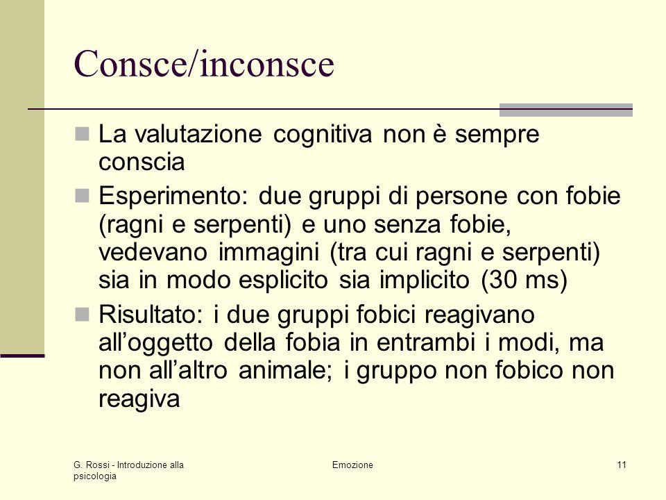Consce/inconsce La valutazione cognitiva non è sempre conscia