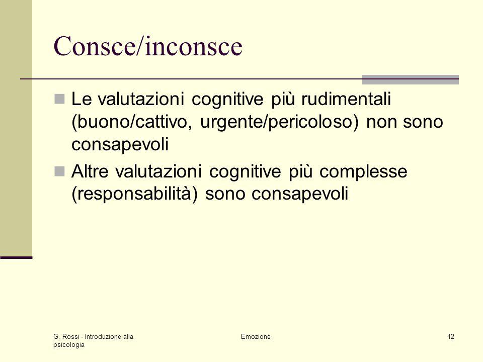 Consce/inconsce Le valutazioni cognitive più rudimentali (buono/cattivo, urgente/pericoloso) non sono consapevoli.
