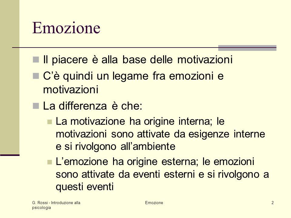 Emozione Il piacere è alla base delle motivazioni
