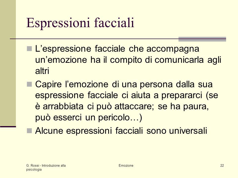 Espressioni facciali L'espressione facciale che accompagna un'emozione ha il compito di comunicarla agli altri.