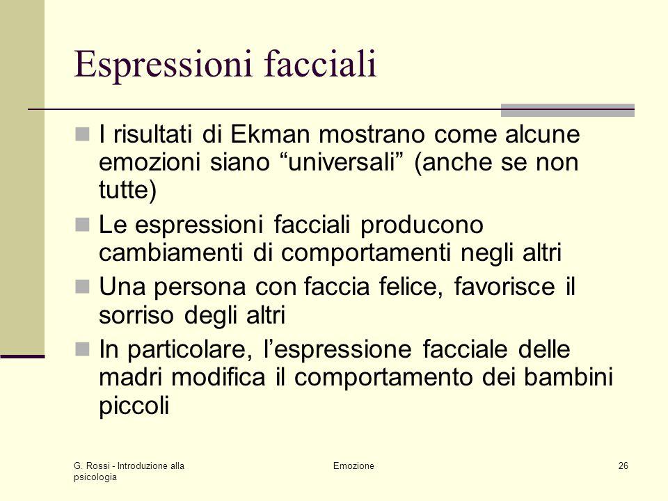 Espressioni facciali I risultati di Ekman mostrano come alcune emozioni siano universali (anche se non tutte)