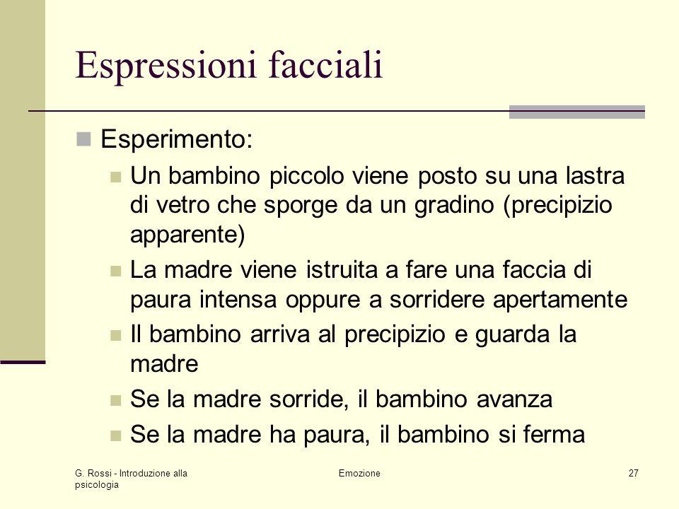 Espressioni facciali Esperimento:
