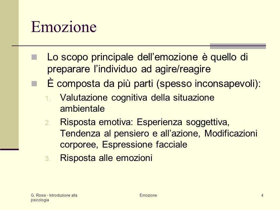 Emozione Lo scopo principale dell'emozione è quello di preparare l'individuo ad agire/reagire. È composta da più parti (spesso inconsapevoli):
