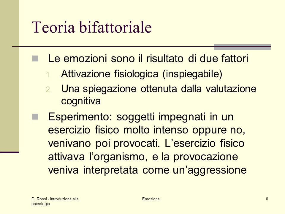 Teoria bifattoriale Le emozioni sono il risultato di due fattori