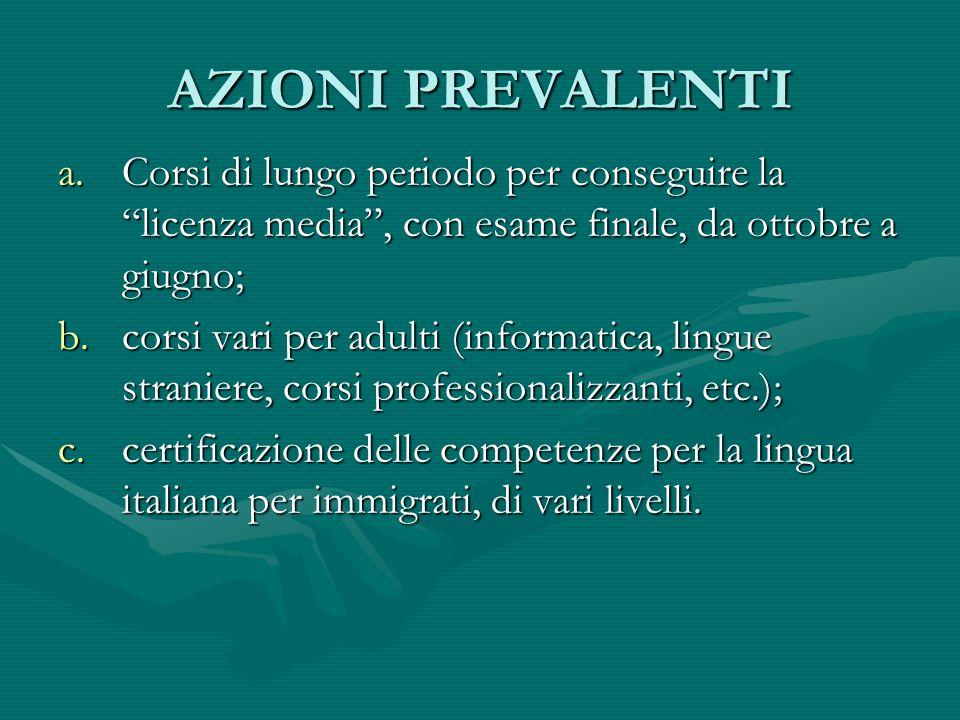 AZIONI PREVALENTI Corsi di lungo periodo per conseguire la licenza media , con esame finale, da ottobre a giugno;
