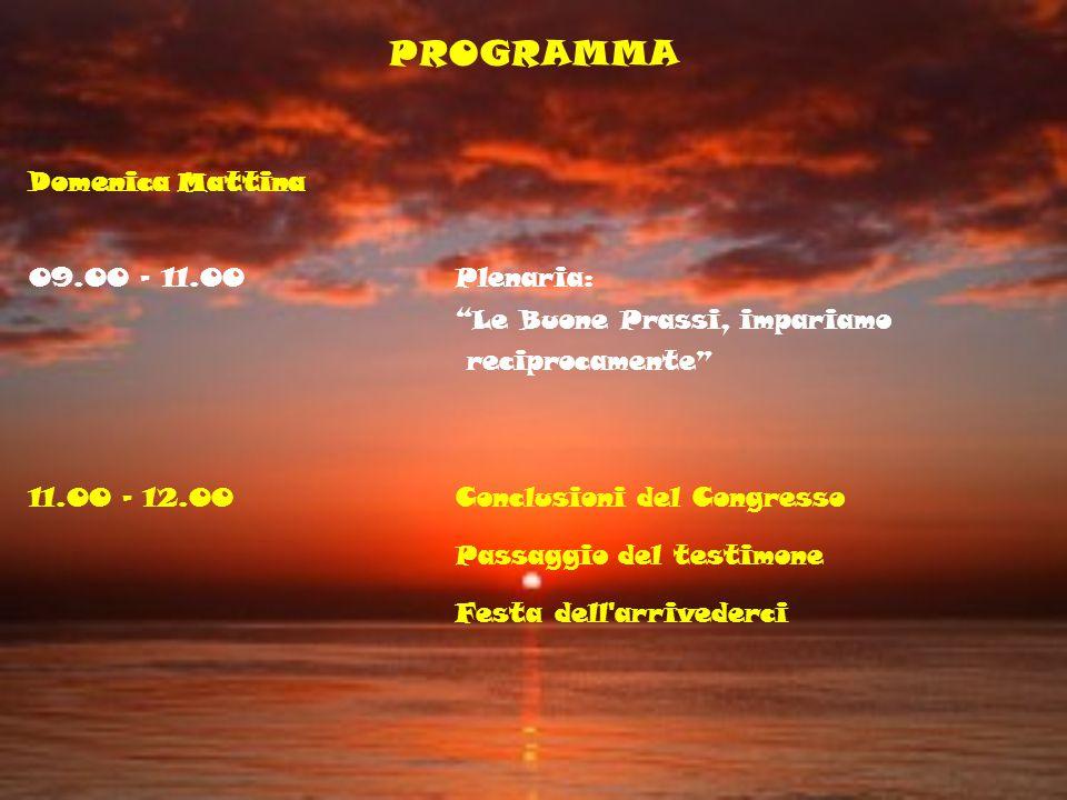 PROGRAMMA Domenica Mattina 09.00 - 11.00 Plenaria: