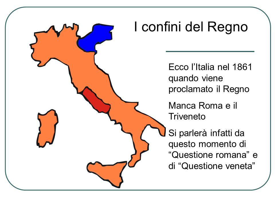 I confini del Regno Ecco l'Italia nel 1861 quando viene proclamato il Regno. Manca Roma e il Triveneto.
