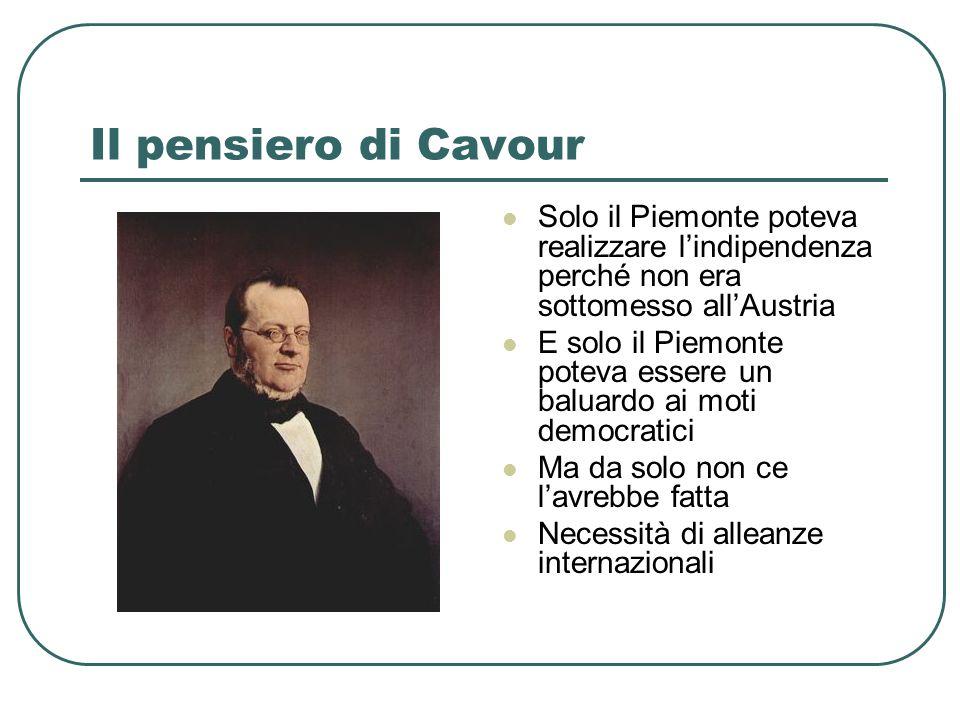 Il pensiero di Cavour Solo il Piemonte poteva realizzare l'indipendenza perché non era sottomesso all'Austria.