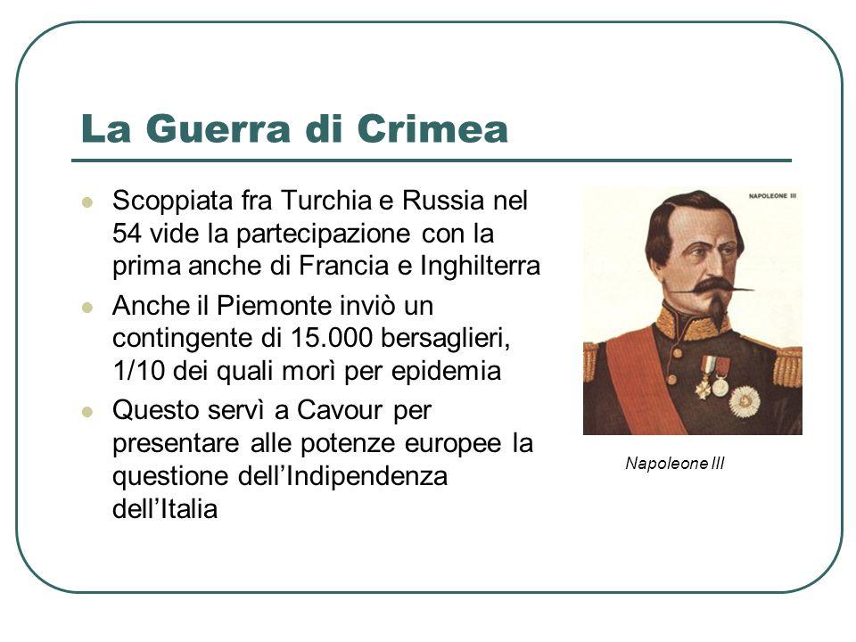 La Guerra di Crimea Scoppiata fra Turchia e Russia nel 54 vide la partecipazione con la prima anche di Francia e Inghilterra.