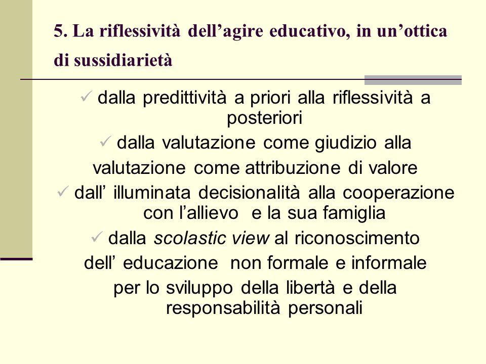 5. La riflessività dell'agire educativo, in un'ottica di sussidiarietà
