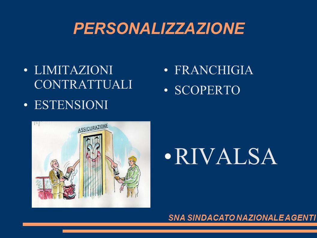 RIVALSA PERSONALIZZAZIONE LIMITAZIONI CONTRATTUALI ESTENSIONI