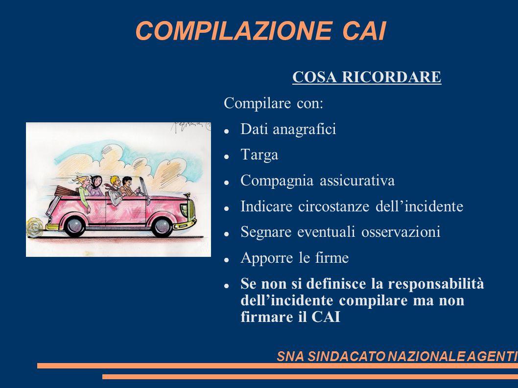 COMPILAZIONE CAI COSA RICORDARE Compilare con: Dati anagrafici Targa