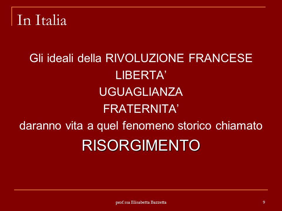 In Italia RISORGIMENTO Gli ideali della RIVOLUZIONE FRANCESE LIBERTA'