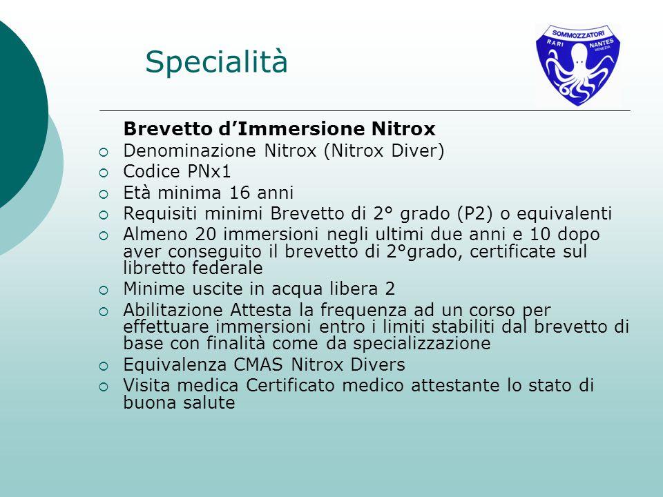 Specialità Brevetto d'Immersione Nitrox