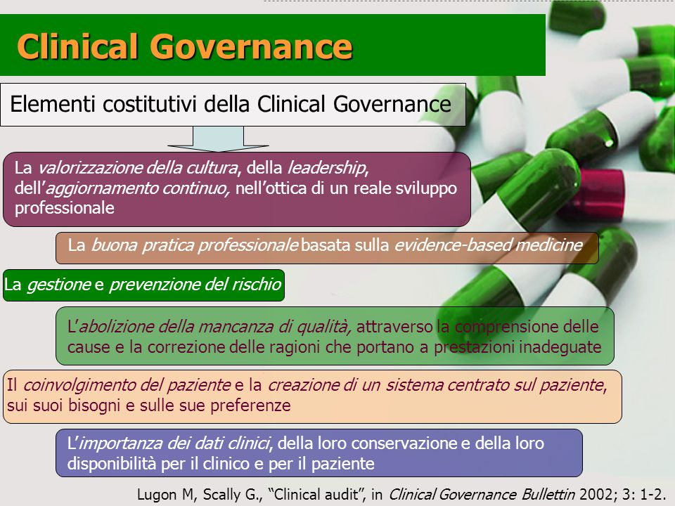 Clinical Governance Elementi costitutivi della Clinical Governance