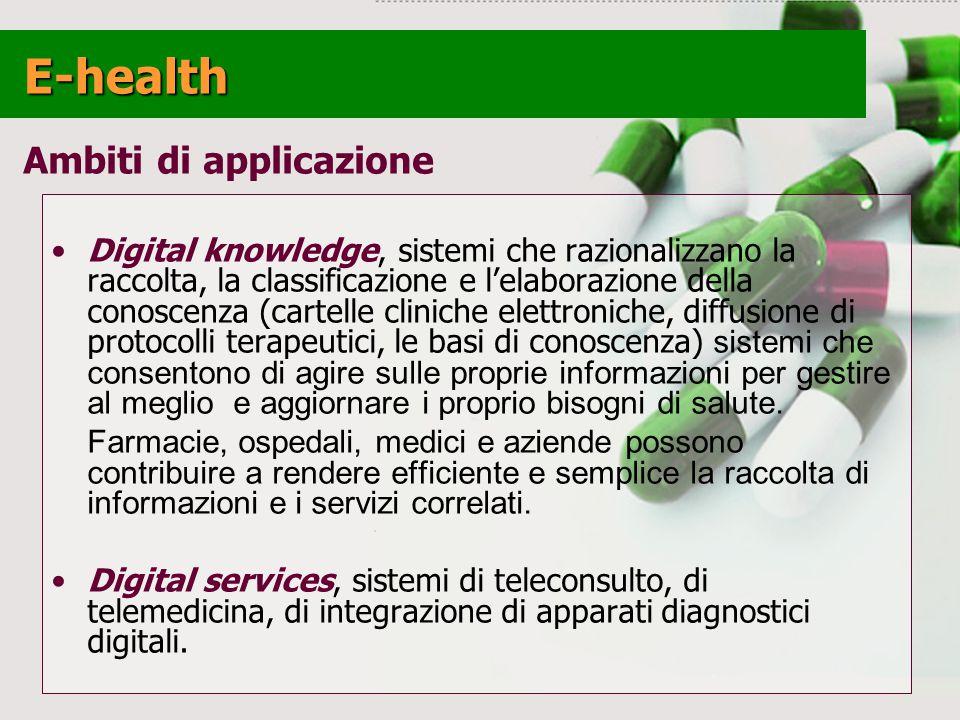 E-health Ambiti di applicazione