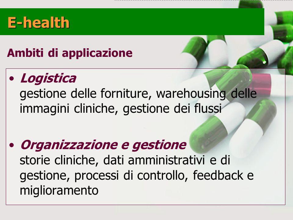 E-health Ambiti di applicazione. Logistica gestione delle forniture, warehousing delle immagini cliniche, gestione dei flussi.