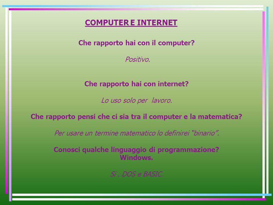 COMPUTER E INTERNET Che rapporto hai con il computer Positivo.