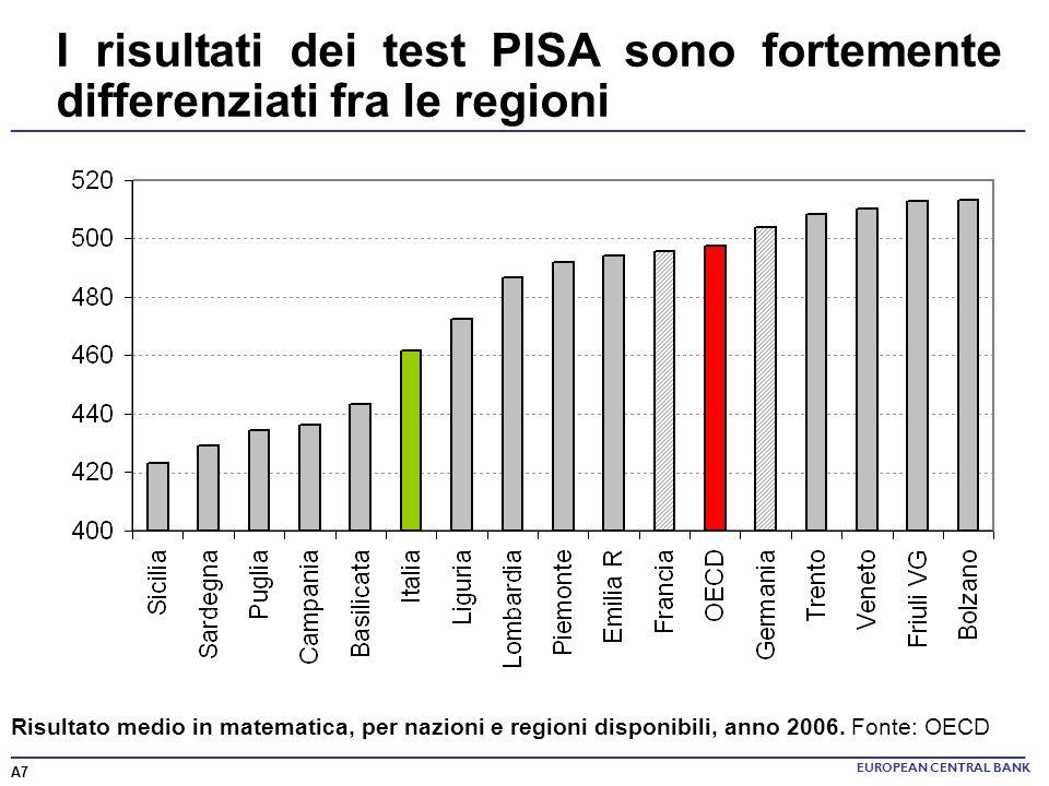 I risultati dei test PISA sono fortemente differenziati fra le regioni