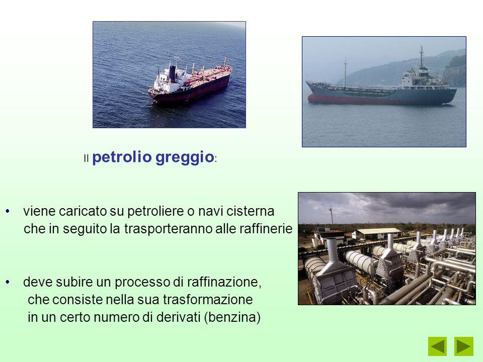 viene caricato su petroliere o navi cisterna