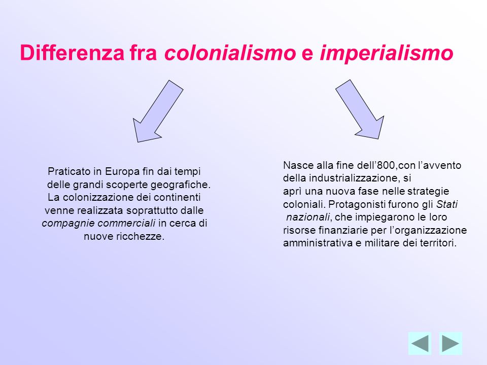 Differenza fra colonialismo e imperialismo